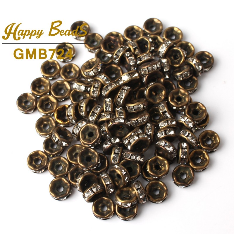 6mm 100Pcs Rose Gold Bronze Plated Metal Rhinestone Rondelle Crystal Bead Loose Spacer Beads For Diy Jewelry Making Accessories