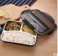 Stainless steel insulated lunch box student adult lunch case fast food box separate plate with compartment double cover
