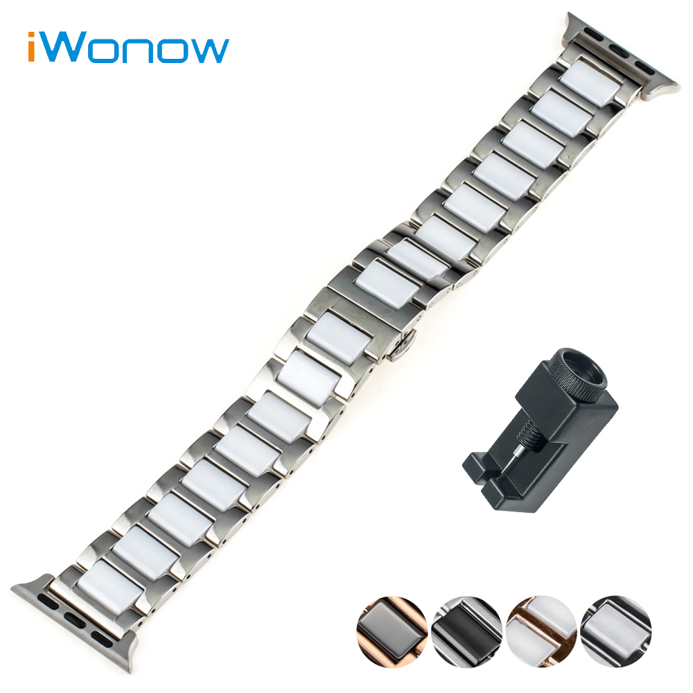 Ceramic + Stainless Steel Watchband for 38mm iWatch Apple Watch / Sport / Edittion Butterfly Clasp Band Strap Bracelet genuine leather watchband alligator grain for iwatch apple watch 38mm 42mm stainless steel butterfly clasp band strap bracelet