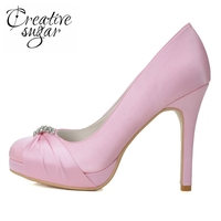 Creativesugar 11cm high heel platform shoes with knot and rhinestone diamond bridal wedding shoes evening dress shoe pink white