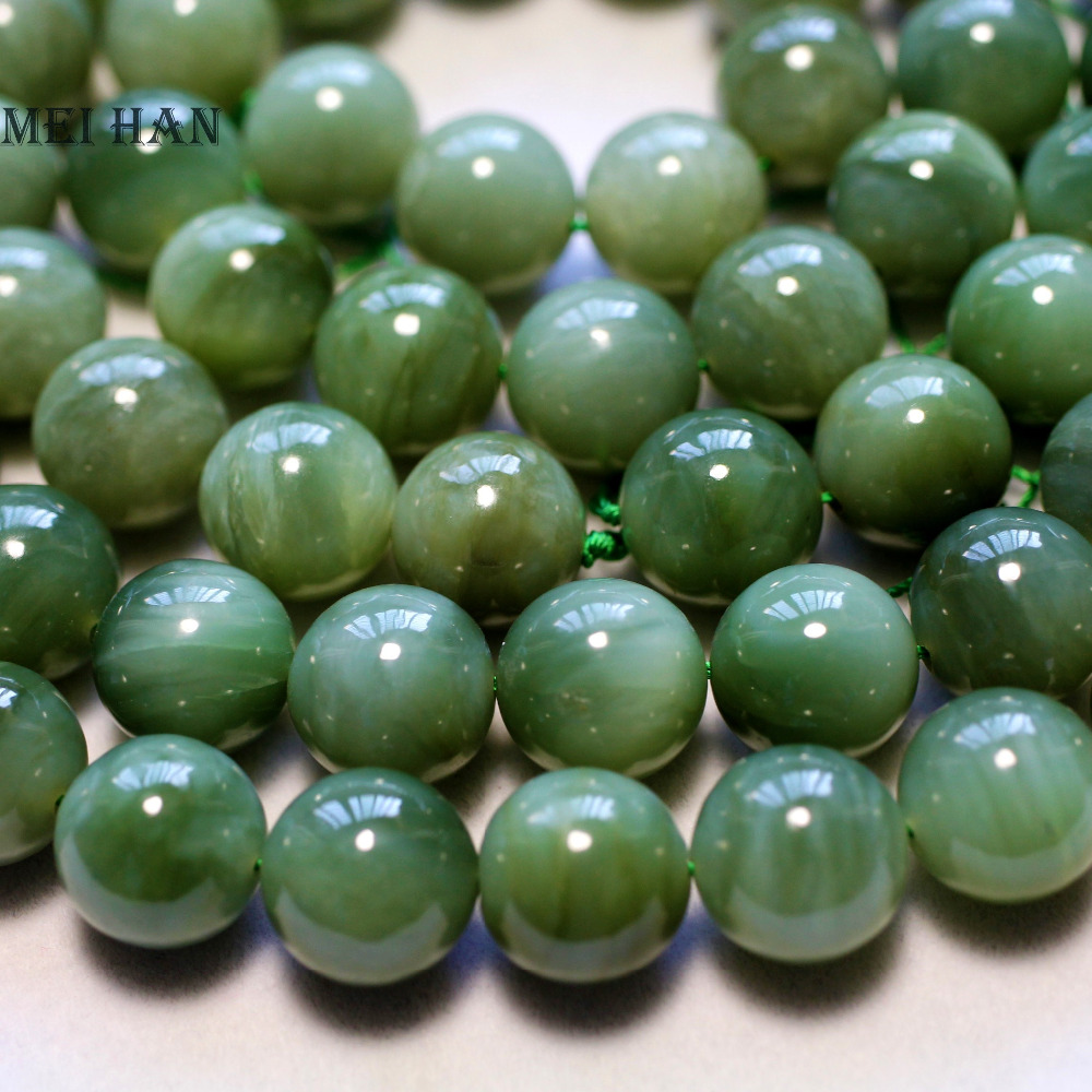 Meihan Wholesale (14pcs/set/65g)14mm natural  A+ Russian jadeite smooth round loose  stone beads for jewelry making diy design