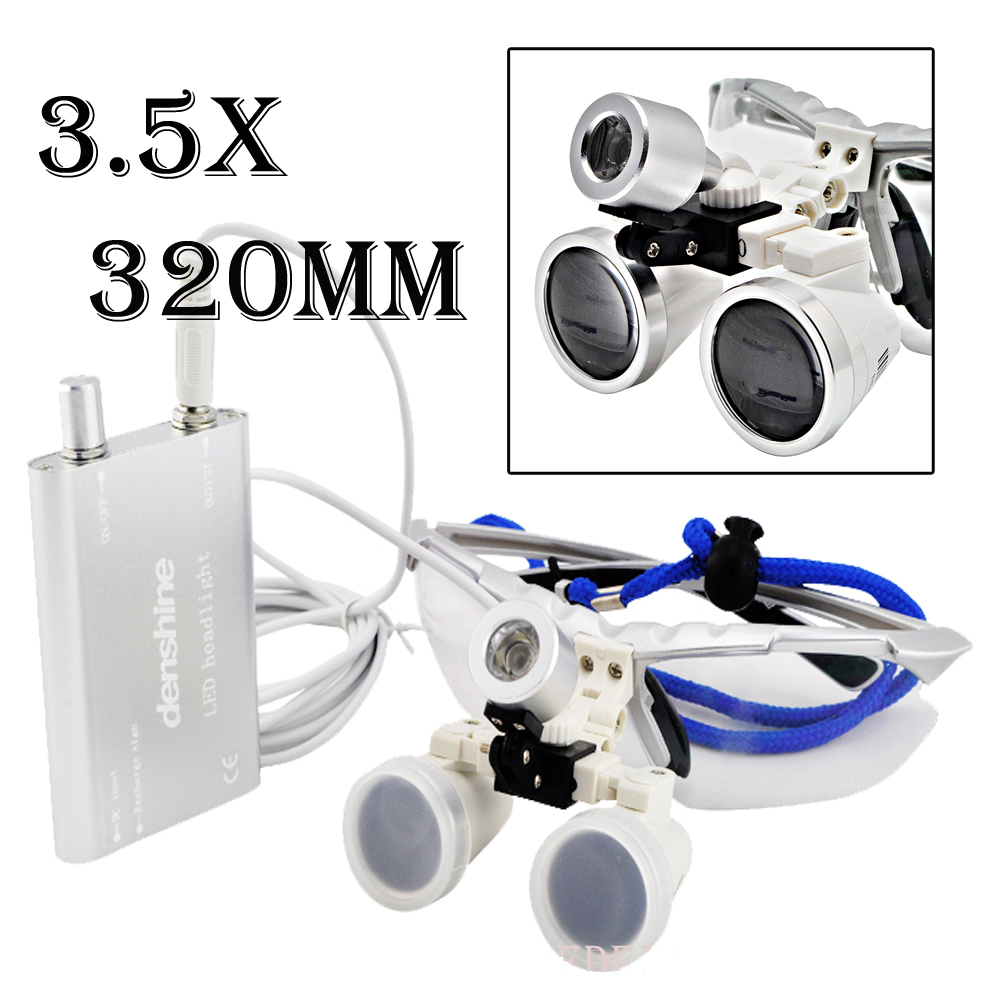 Hot sale 3.5x320mm Dentist Dental Surgical Medical Binocular Loupes Optical Glass Loupe + Portable LED Head Light Lamp 01 hettich 6901 12