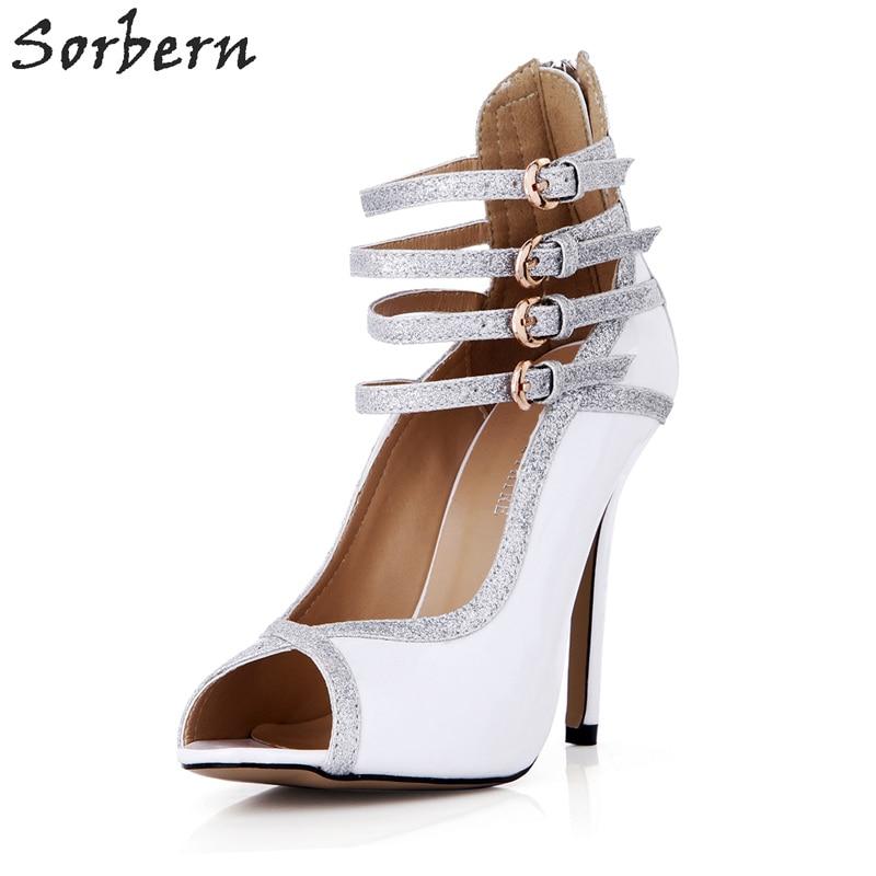 Sorbern White Gladiator Women Sandals High Heels Silver Glitter Ladies Shoes Ladies Drop Ship Custom Color Stilettos Buckles
