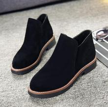 2018 autumn Korean version of the new round head suede non-slip wear-resistant thick with thin Roman women's shoes