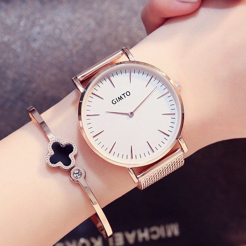 GIMTO Simple Fashion Weave Stainless Steel Rose Gold Watch Women Dress Ladies Watches Top Brand Luxury Quartz Watches For Girls top brand reef tiger rt watches luxury fashion ladies dress quartz black watch rose gold diamonds watch for women rga172