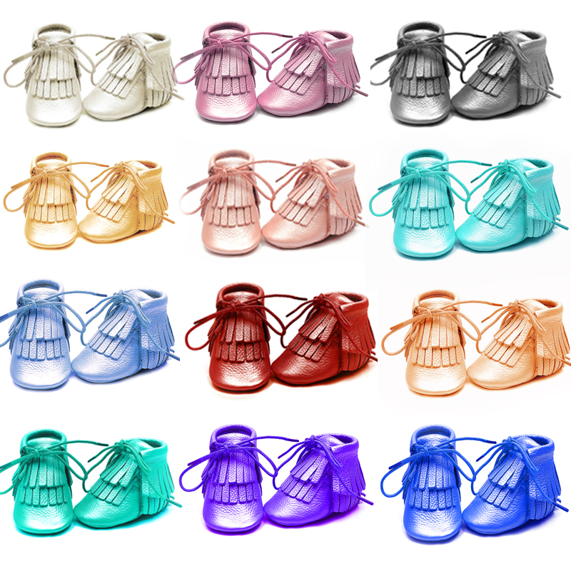 rose gold Newborn Genuine Leather Baby moccasins First Walkers Soft Baby boots bling infant Fringe girls boys Shoes