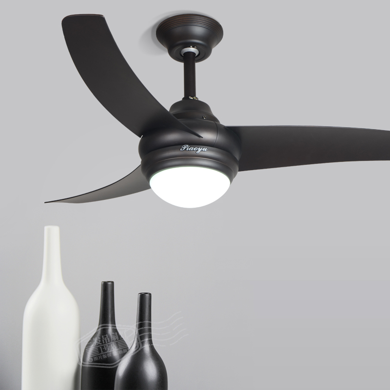 Black Chandelier Fan: LED Remote Control Fan Chandelier Ceiling Fan Light Simple