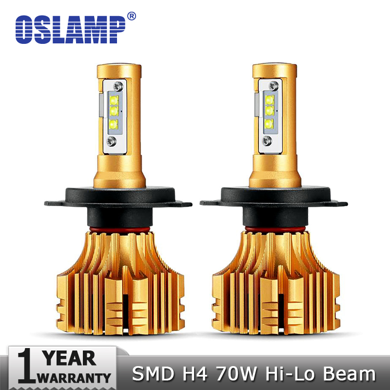 Oslamp SMD CREE Chips 70W/pair H4 Car LED Headlight Bulbs 7000LM 6500K White 12v 24v Auto Headlamp Kits Hi-Lo Beam All-in-one
