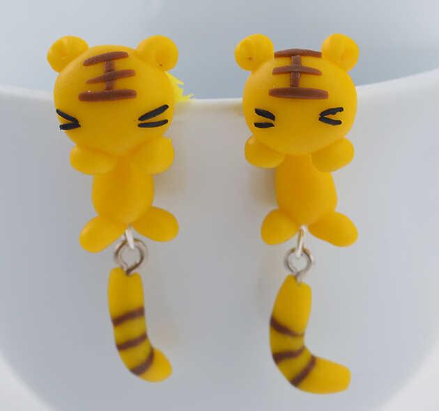 2015 moda Top Gade Handmade śliczne białe oczy żółty tygrys polimeru gliny Piercing stadniny kolczyki dla kobiet 3d zwierząt Brincos