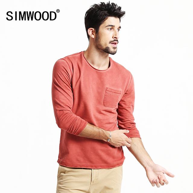 SIMWOOD 2016 nueva otoño invierno de manga larga camisetas hombre moda casual vintage tees 3 colores disponibles TL3509