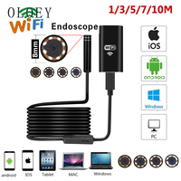 8LED 10M Hard Flexible Snake USB WIFI Android Endoscope Camera HD720P 8mm 2MP For Iphone Borescope