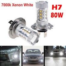 Car Fog Lamp Waterproof 2 X H7 80W LED Fog DRL Driving Car Head Light Lamp Bulbs White Super Bright Driving Fog Lamp Bulbs
