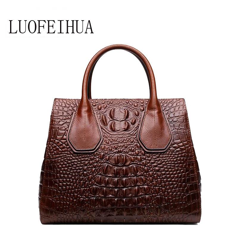 LUOFEIHUA Genuine Leather women bags for women  2019 new luxury crocodile pattern handbag brand bag handbag designer handbagLUOFEIHUA Genuine Leather women bags for women  2019 new luxury crocodile pattern handbag brand bag handbag designer handbag