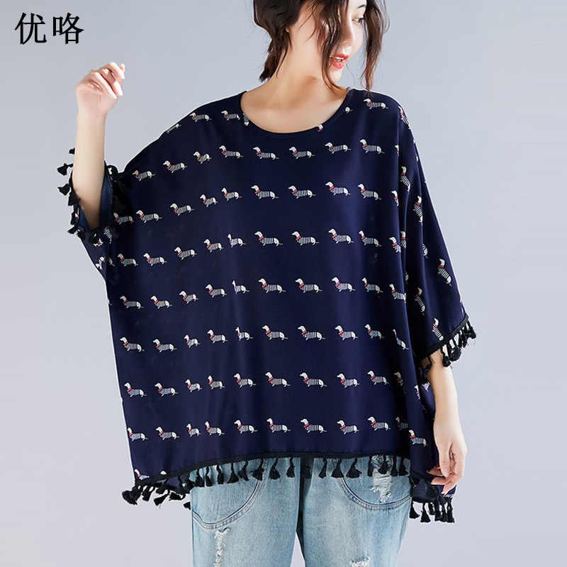 791c17d5b7 Kawaii Cotton T Shirt 2019 Women Summer Plus Size T-Shirt Top O Neck Bat