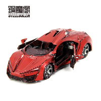 High Quality Color Red Super Sports Car 3D Metal Kits Model Puzzle DIY Collection Birthday Gift