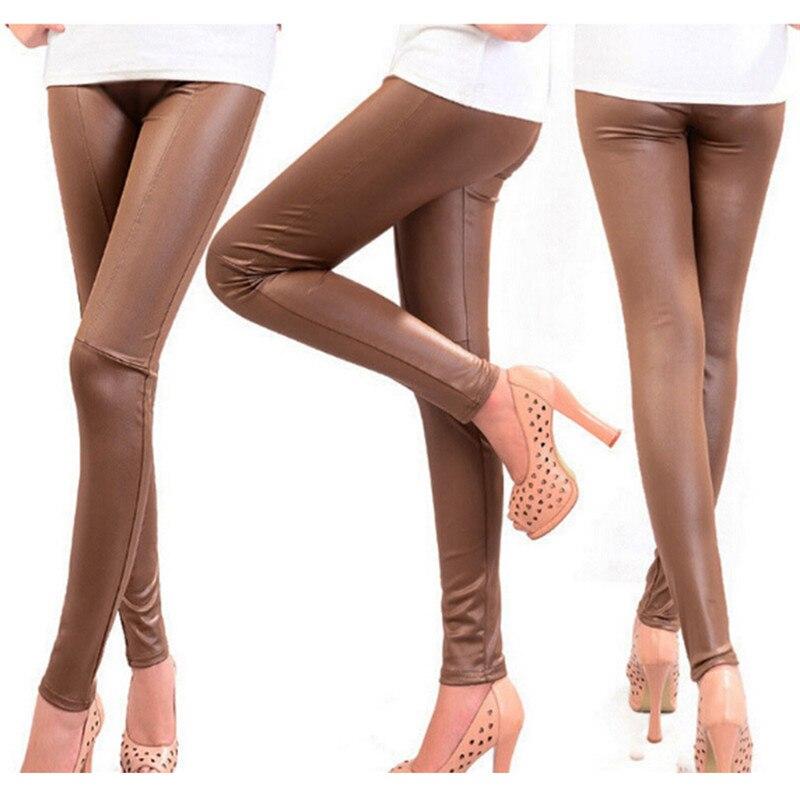 New Sexy Autumn Winter Fashion Faux Leather Trousers Women  Skinny PU Leggings Pants Pantalon Femme