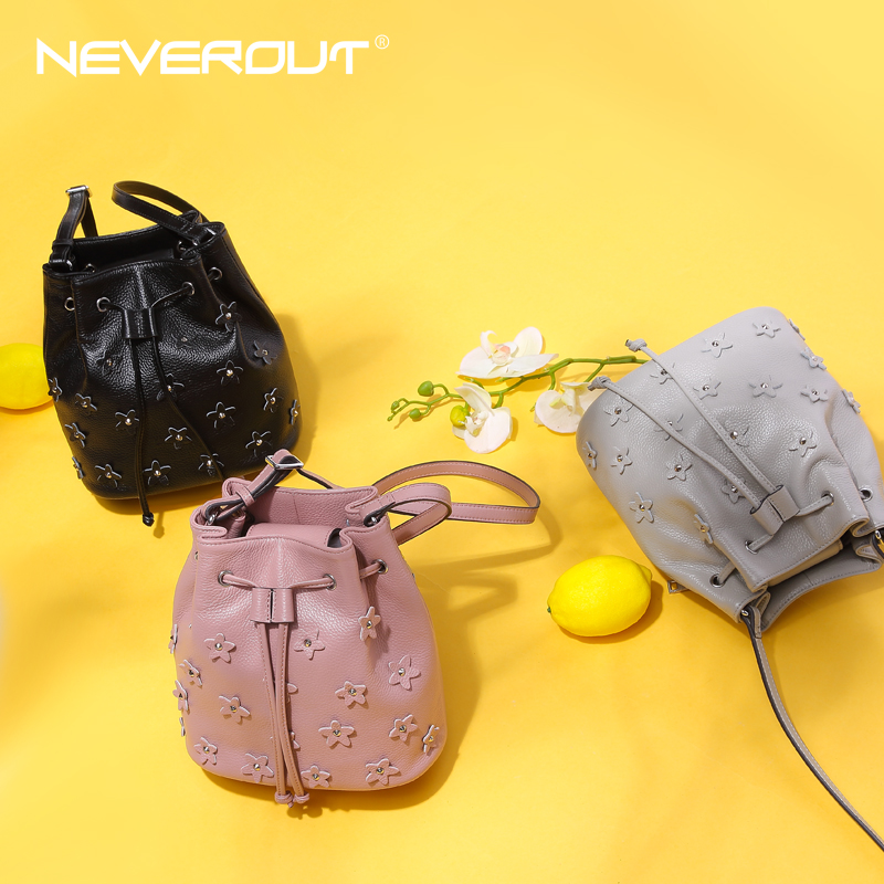 NeverOut 3 Color Genuine Leather Bucket Bag Brand Name Women Flowers Shoulder  Sac Lady Messenger Bags Solid Crossbody Bags-in Shoulder Bags from Luggage  ... 65584fbc80