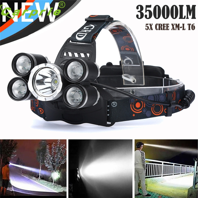 Super 35000 LM 5X CREE XM-L T6 LED Rechargeable Headlamp Headlight Travel Head Torch 170331