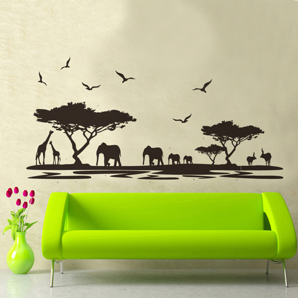 Charmant Large Art Wall Stickers Beautiful Scenery African Animals DIY Wallpaper Home  Decor For Background Wall Decoration