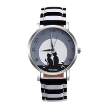 Cute Cat Printed Women Watches Faux Leather Analog Quartz Wr