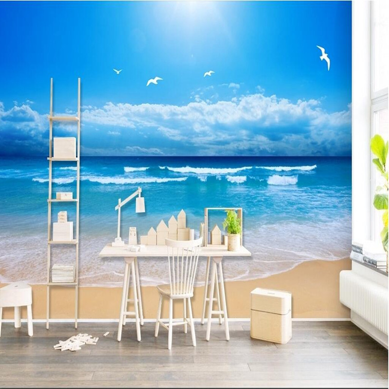 Custom HD Photo Wallpaper Living Room 3D Wall Murals Blue Sky Sea Beach Wall Paper Home Decor Wallcoverings 3D Wallpaper Murals sea world 3d wallpaper murals for living room bedroom photo print wallpapers 3 d wall paper papier modern wall coverings