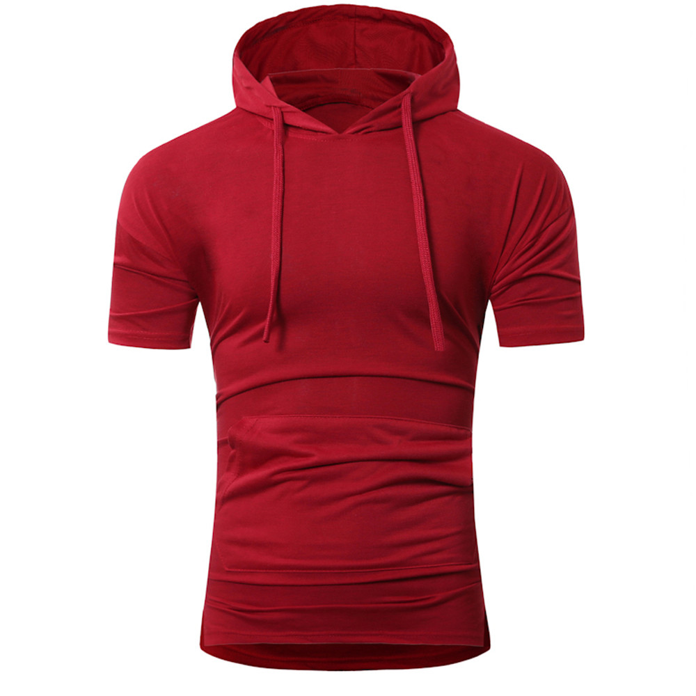 CHAMSGEND Men Summer Fashion Hooded Pullover Mens Short-sleeved T-shirt Tight-fitting sweaterDrop Shipping 1M27