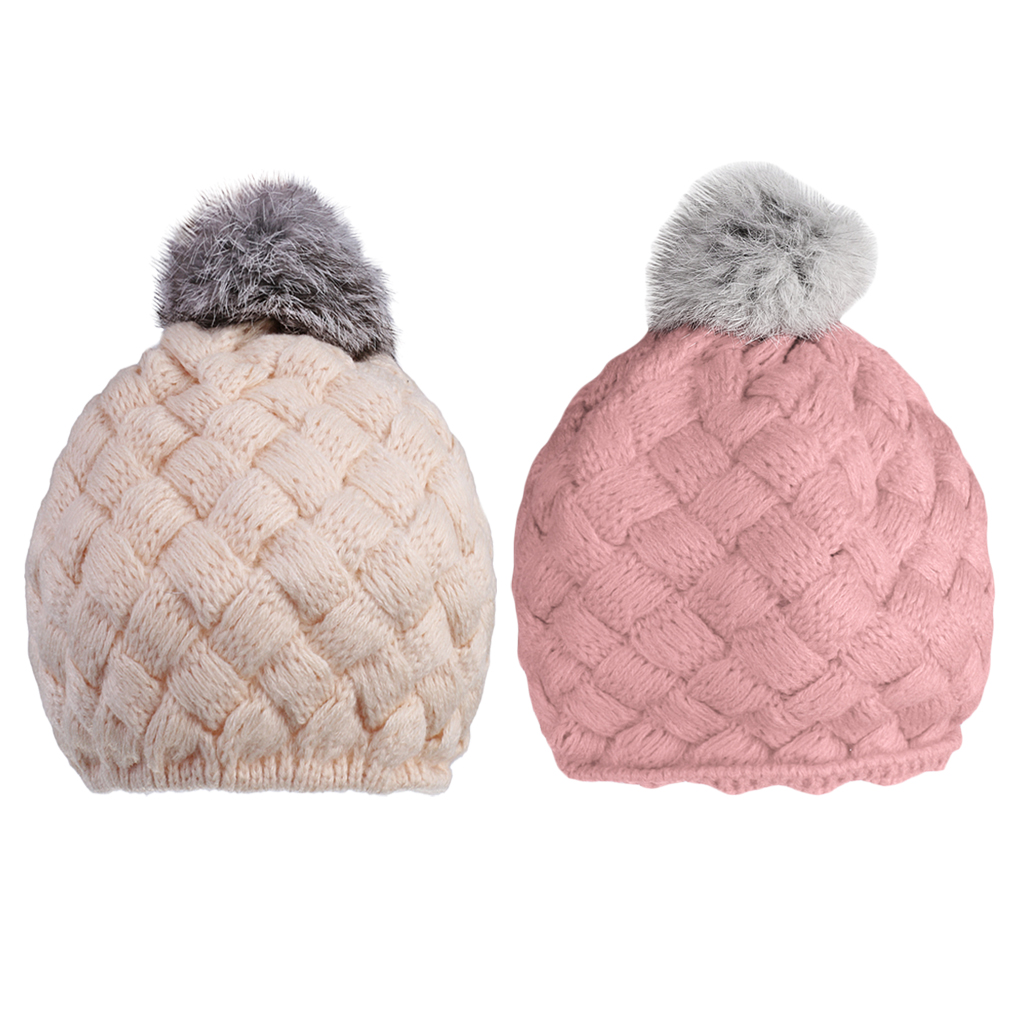 2 Pieces Lovely Baby Kids Knitting Beret Beanie Hat
