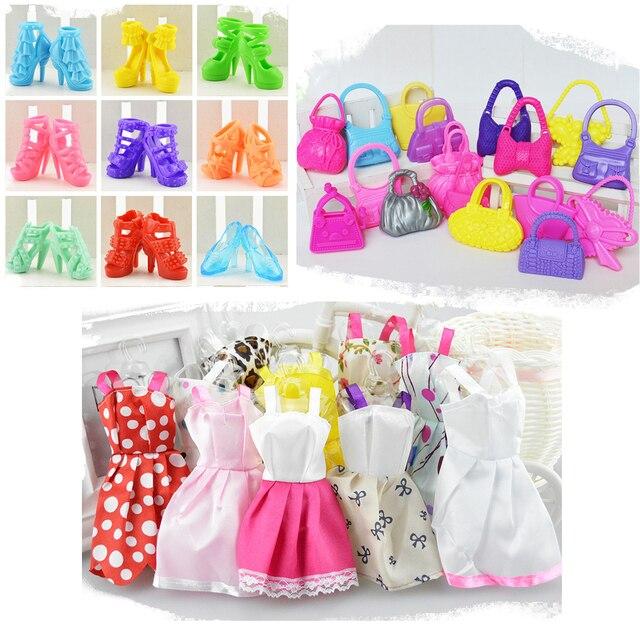 Miniature Fashion Accessories for Barbie 27 Items =10 pcs dress + 9 pcs shoes + 8pcs handbag