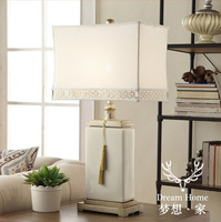 Chinese Style Rice White Table Lamps Square Crack Ceramic Desk Lamps House Hotel Room Type Ceramic