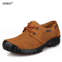 2016 New Summer Style Men Trekking Shoes High Quality Genuine Leather Men Climbing Shoes Breathable Men Outdoor Shoes