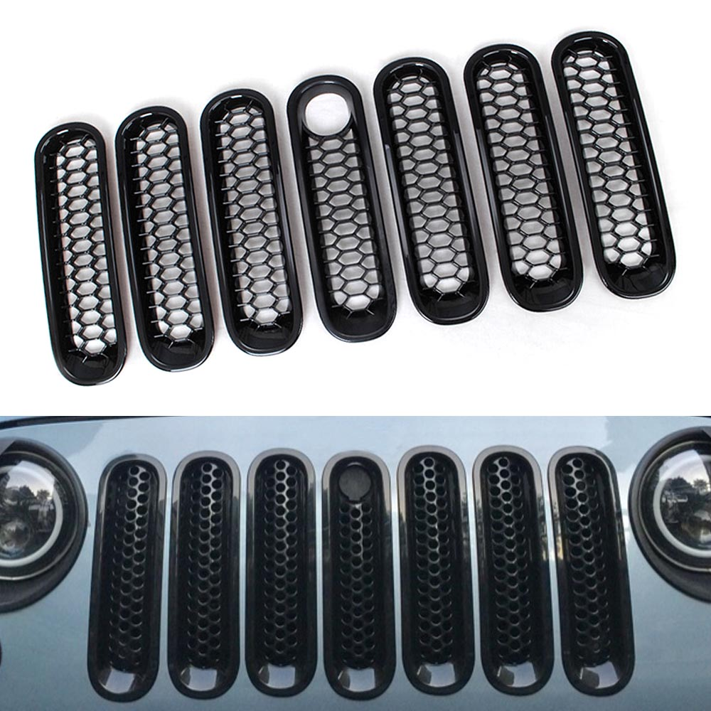 Front Grill Mesh Grille Insert Cover Front Racing Grills Inserts Sticker With Lock Hole Trim For Jeep Wrangler JK 2007-2015 racing grills version aluminum alloy car styling refit grille air intake grid radiator grill for kla k5 2012 14