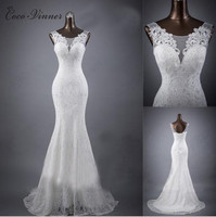 C V 2017 New Arrival Plus Size Custom Made Lace Mermaid Wedding Dress White Color V
