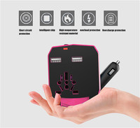 Universal Travel Adapter Car Charge Electric Plugs Sockets Converter US AU UK EU With Dual USB