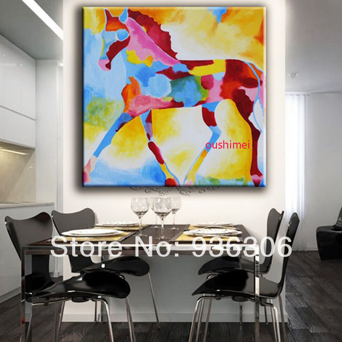 Hand Painted Animal Oil Painting For Living Room Wall Decor Horse Pictures Abstract On Canvas Painting On The Wall Craft Art