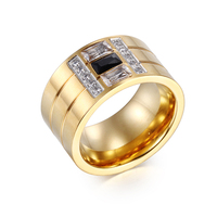 Heyrock Women Gold Plated Stainless Steel Rings Black Blue White Zircon Wedding Engagement Rings For Men