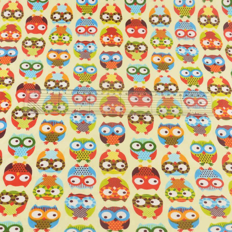 Tela de algodón Teramila, Patchwork, tela de costura, manualidades para cama, decoración, tejido para hogar, textiles beis, búhos, bonito pájaro
