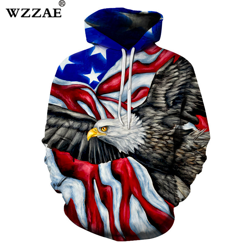 Mens Casual Hooded Pullovers Outerwear Spring Autumn Fashion Hoodies Sweatshirts Mens Plus Size 3D Eagle Printed Hoody Tops