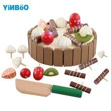 Деревянные кухонные игрушки, деревянный детский торт на день рождения, игрушки для девочек, детские Игрушки для раннего образования, детские игрушки для кухни