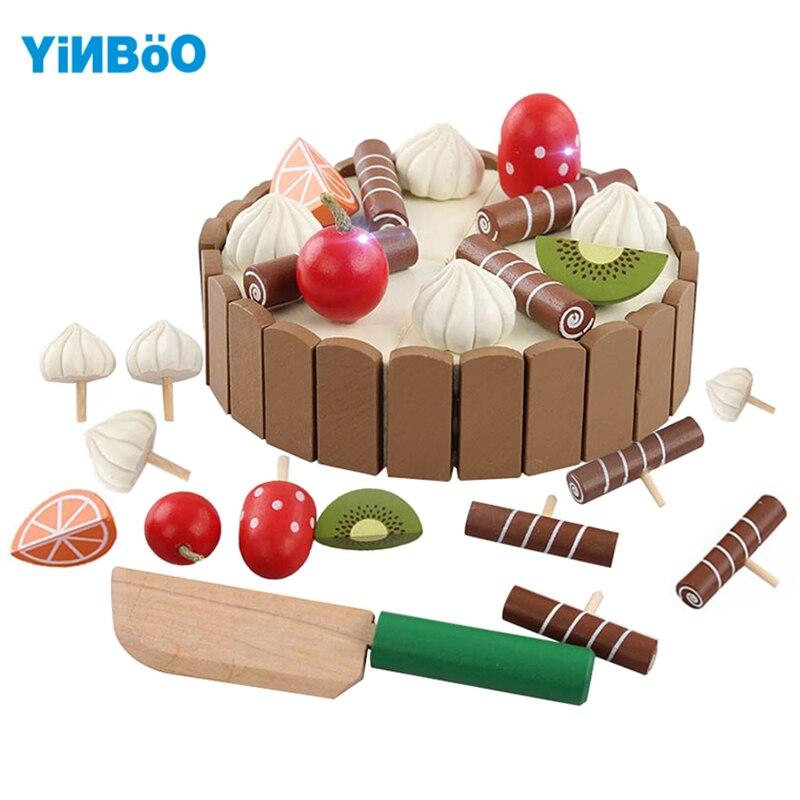 Деревянный Кухонные игрушки деревянный детский день рождения торт для девочек Игрушечные ...