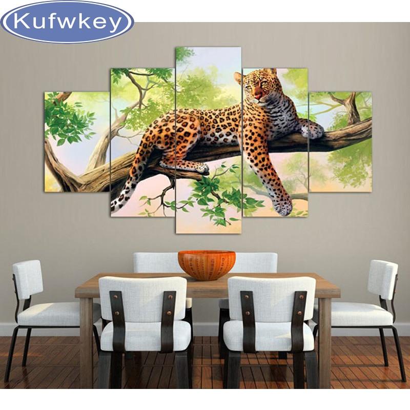leopard diy 5d diamond painting 5pcs animal picture of rhinestones square full diy nature diamond embroidery