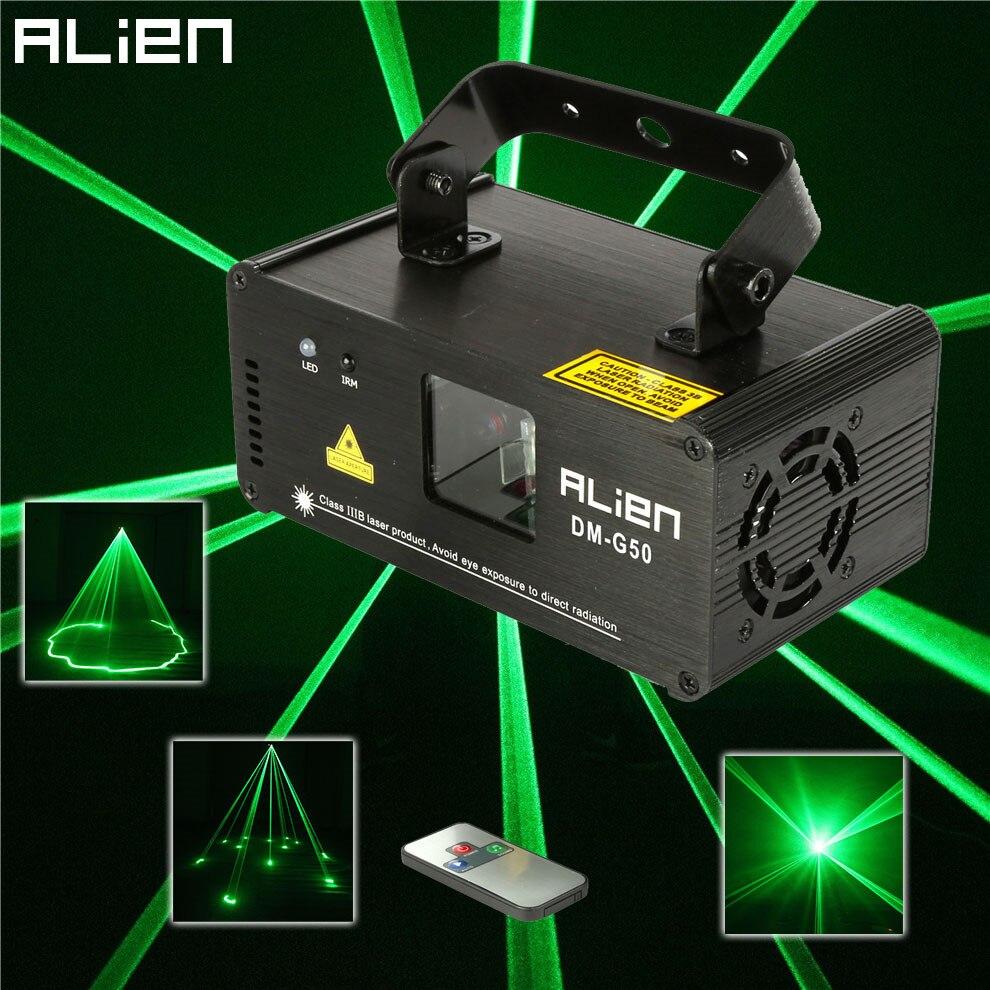 Чужой удаленного 50 МВт зеленый лазерный проектор Профессиональный Сценическое освещение dmx 512 сканер партии диско DJ Показать огни ...