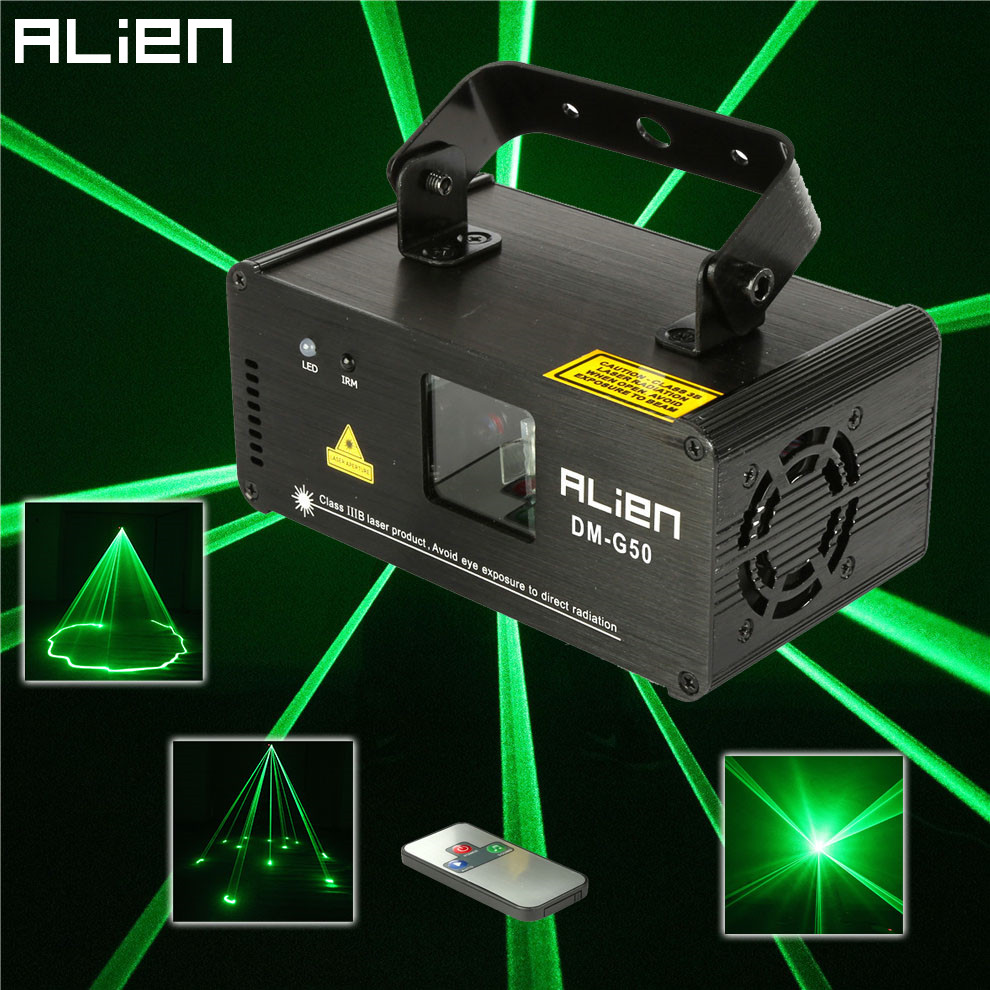 ALIEN Remote 50mw Green Laser Projector Professional Stage Lighting Effect DMX 512 Scanner DJ Disco Party Show Lights alien 12 patterns rgb remote laser stage lighting effect dj disco dance holiday lights laser projector party light equipment