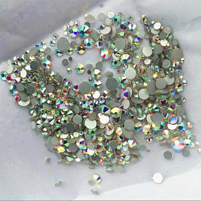 3000PCS / Pack Mix Storlekar Crystal Clear AB Ej Hotfix Flatback - Nagel konst