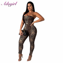 Adogirl Leopard Print Sexy Jumpsuit Women Fashion Strapless Backless Lace Up Bodycon Romper Lady Night Club Party Overall outfit