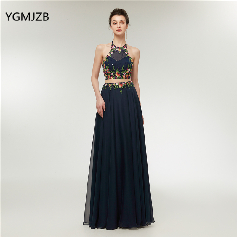 Sexy 2 Piece   Prom     Dresses   2018 Long A-Line Beads Embroidery 3d Flowers Evening   Dresses   Navy Blue Women Formal   Prom   Evening Gown