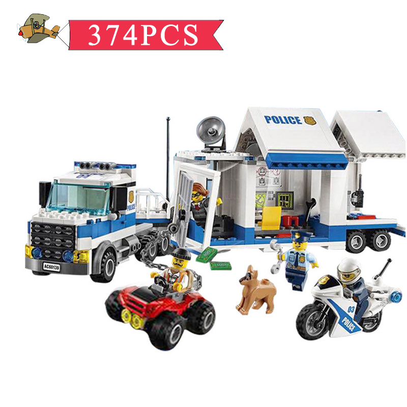 Model Building Blocks Toy City Police Station Mobile Command Center DIY Classic Children Building Bricks Educational Toys Gift mobile work center