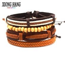 Мужской кожаный браслет xionghang многослойный в стиле панк