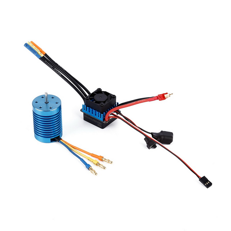 3650 1/10 4370KV Slot Sensorless Brushless Motor with 45A Brushless ESC Toy Car Motor 3650 3900kv 4p sensorless brushless motor 60a brushless elec speed controller esc w 5 8v 3a switch mode bec for 1 10 rc car
