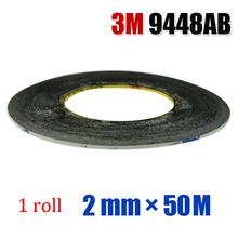 (2mm*50 Meters) Widely Use 3M 9448AB Black Double Sided Adhesive Tape for Smartphone Tablet LCD Touch Screen Display Repair