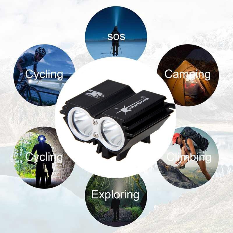 Suya davamlı Velosiped İşıq 2 * T6 LED Velosiped İşıq 4 Modu - Velosiped sürün - Fotoqrafiya 4